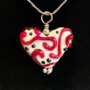 Jewelry - Murano glass heart twisted sterling chain red why